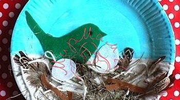 Птички в гнезде. Поделки из одноразовых тарелок