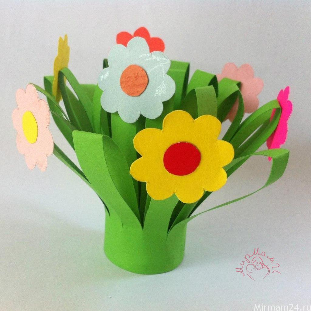 Детские поделки цветы в вазе