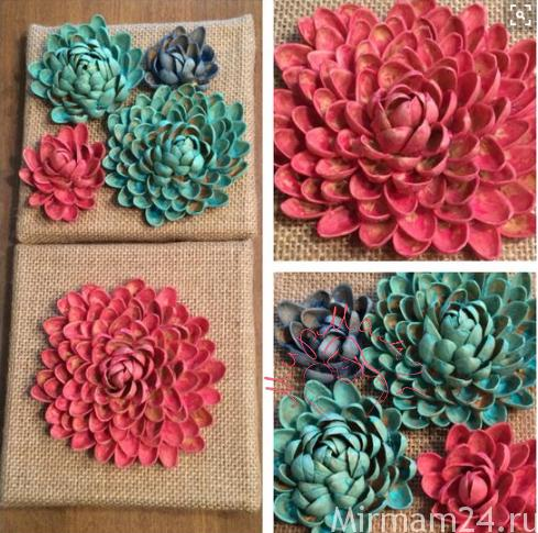 Цветы из фисташковой скорлупы