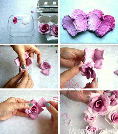 Цветы из яичной упаковки